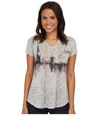 Vince Camuto Short Sleeve London Cityscape Burnout V Neck Tee Grey Heather Women's T Shirt Gray