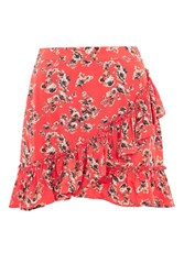 Topshop Red Flower Frill Skirt Red