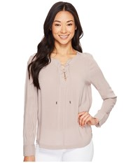 Calvin Klein Jeans Hi Lo Lace Up Popover Silver Rose Women's Long Sleeve Pullover Gray