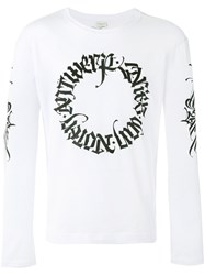 Dries Van Noten Long Sleeve Top With Tattoo Calligraphy Branded Details White