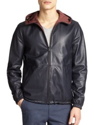 Vince Hooded Reversible Leather Jacket Navy Burgundy