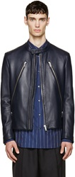 Maison Martin Margiela Navy Leather 5 Zip Racer Jacket