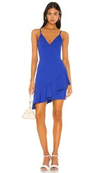 Susana Monaco Thin Strap Wrap Ruffle Dress In Royal. Strobe