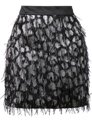 Milly Embellished Straight Skirt Black
