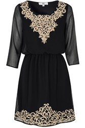 True Decadence Embroidered Dress Black