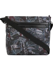 Salvatore Ferragamo Feather Print Messenger Bag Black