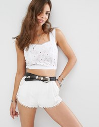 Young Bohemians Crop Top In Broderie With Lace Hems And Button Detail White