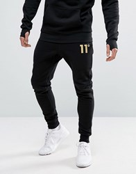 11 Degrees Skinny Joggers With Gold Logo Black