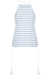 Cami Nyc Gemma Lace Up Striped Silk Crepe De Chine Camisole Azure