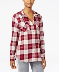 Polly And Esther Juniors' Plaid Flannel Hoodie Cream Burgundy