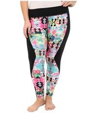 Pink Lotus Plus Size Hawaii Tribe Contrast Performance Leggings Passion Fruit Women's Casual Pants Pink