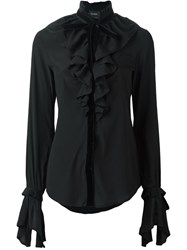 Christian Pellizzari Ruffled Bib Shirt Black
