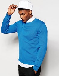 United Colors Of Benetton 100 Cotton Crew Neck Knitted Jumper Blue05q