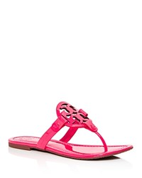Tory Burch Miller Patent Leather Thong Sandals Fluorescent Fuchsia