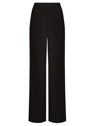 Diane Von Furstenberg Polka Dot Print Stretch Silk Wide Leg Trousers Black White
