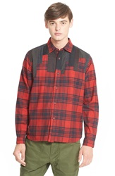 White Mountaineering Regular Fit Patchwork Flannel Shirt Red