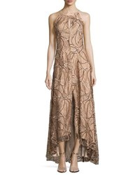 Aidan Mattox Floral Embroidered High Low Gown Brown Metallic