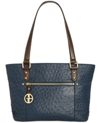 Giani Bernini Ostrich Embossed Tote Created For Macy's Navy
