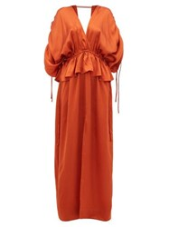Loup Charmant Athena Open Back Hammered Silk Satin Maxi Dress Copper