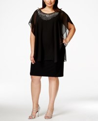 Betsy And Adam Plus Size Embellished Capelet Dress
