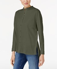 Eileen Fisher Organic Cotton Mandarin Collar Shirt Surplus
