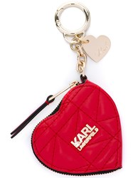 Karl Lagerfeld Zipped Heart Keyring Purse Red