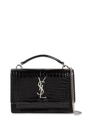 Saint Laurent Small Sunset Croc Embossed Leather Bag Black
