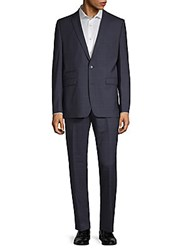 Vince Camuto Windowpane Wool Suit Navy
