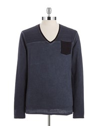 William Rast Space Dyed Pullover Steel Blue