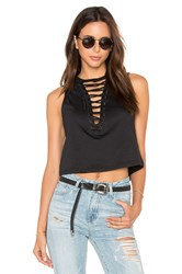 Lucca Couture Lace Up Muscle Tank Black