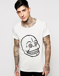 Cheap Monday T Shirt Cap Hypnotized Skull Print In White Dirtywhite