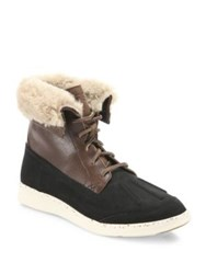 Ugg Fillmore Roskoe Leather And Suede Boots Black Dark Chestnut