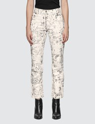 Off White All Over Graphic Cropped Pants White