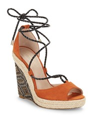 Charles By Charles David Boston Ankle Tie Wedge Sandals Camel