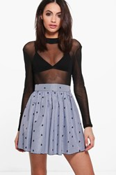 Boohoo Gingham Embroidered Skater Skirts Blue