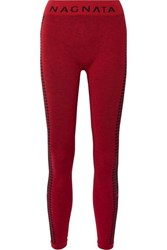 Nagnata The Woolmark Company Laya Intarsia Technical Stretch Knit Leggings Claret