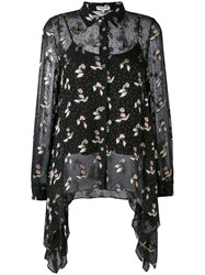 Opening Ceremony Floral Draped Shirt Women Silk Viscose 4 Black
