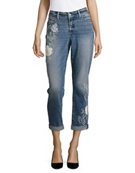 Nydj Embroidered Cuffed Cropped Jeans Fiore Embroidery