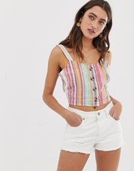 Only Linen Stripe Crop Cream