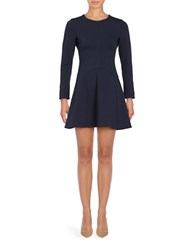 Eliza J Petite Solid Fit And Flare Dress Navy