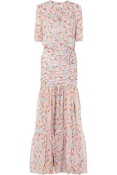 Veronica Beard Mick Ruched Floral Print Silk Chiffon Maxi Dress Pink