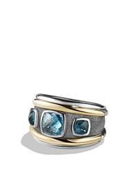 David Yurman Ring With Blue Topaz Hampton Blue Topaz And 14K Yellow Gold