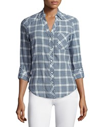 Soft Joie Cydnee Checker Plaid Top Size X Small Porcelain