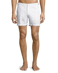 Orlebar Brown Cavrin Solid Linen Shorts White Size 36