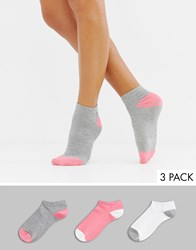 South Beach 3Pack Socks Coral White Grey Multi
