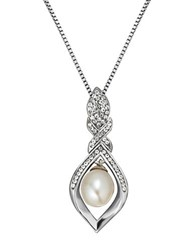 Lord And Taylor Sterling Silver Fresh Water Pearl Crystal Pendant Necklace Pearl Silver