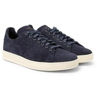 Tom Ford Warwick Perforated Suede Sneakers Navy