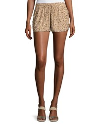 Joie Joselle Sequin Drawstring Shorts Nude Beige
