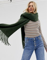 Pieces Chunky Tassel Oversized Scarf Green