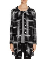 Sanctuary Plaid Knit Coat Black Creme